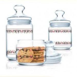 Luminarc Storage Glass Jar 3 pcs set 0.5 L, 0.75 L, 1.0 L Flynn