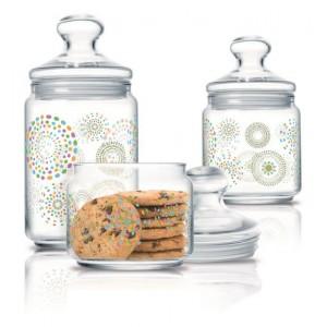 Luminarc Storage Glass Jar 3 pcs set 0.5 L, 0.75 L, 1.0 L Rainbow Flakes