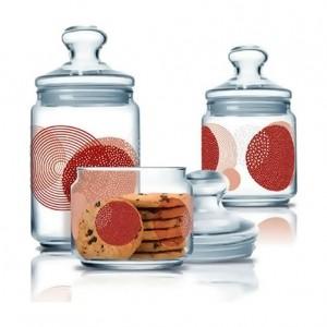 Luminarc Storage Glass Jar 3 pcs set 0.5 L, 0.75 L, 1.0 L Constellation Red