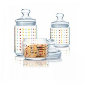 Luminarc Storage Glass Jar 3 pcs set 0.5 L, 0.75 L, 1.0 L Color Art