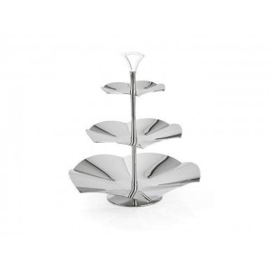 LF ALZATE CONCAVE 3 TIER SERVING STAND IN STAINLESS STEEL