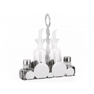 LF Condiment CIOCCO OIL AND VINEGAR CRUETS PLUS SALT AND PEPPER SHAKERS IN STAINLESS STEEL