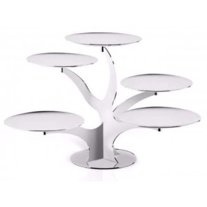LF ALZATE BRANCH 5 TIER SERVING STAND IN STAINLESS STEEL