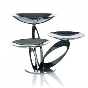 LF ALZATE BRANCH 3 TIER SERVING STAND IN STAINLESS STEEL