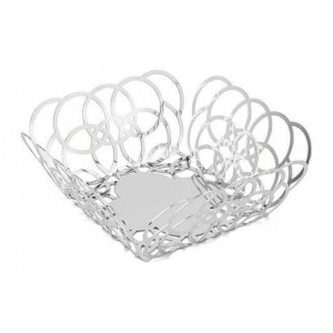 LF BUBBLE LARGE SQUARE SERVING BASKET IN STAINLESS STEEL