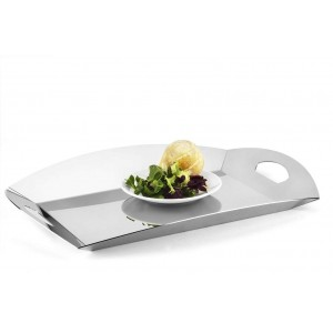 LF PLEXI MATTE DOVE GRAY SERVING TRAY IN STAINLESS STEEL