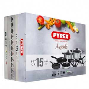 A Pyrex a Argento Aluminum 15 piece cooking set, silver