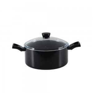 Pyrex a Black Diamond Non-Stick Aluminium Stewpot 24 cm W/ Glass Lid