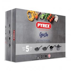 a Pyrex a Gusto Non-Stick 5 Pcs Set (Pot 26cm, Casserole 18cm, Pan 24-26cm) Gift Box