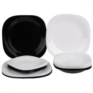 LUMINARC Carine Dinner Set White & Black - 18 Pcs