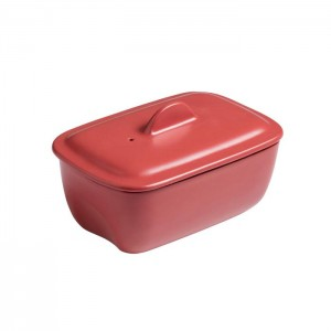 Pyrex Form-terrin CURVES with lid red 17cm s50