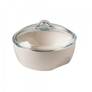 Pyrex Curves White ceramic Round Casserole with glass lid 2.5 L s50