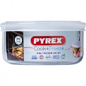 Pyrex Cook & Freeze Round Dish With Lid, 0.6L