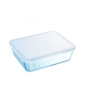 Pyrex Cook & Freeze Glass rectangular Dish with plastic lid 4L