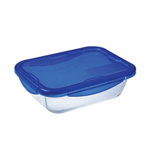 Pyrex Cook & Go Glass rectangular dish with lid 24x18cm
