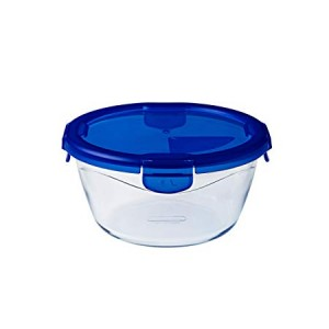 Pyrex Cook & Go Glass Round Dish with Lid 0.7Ltr