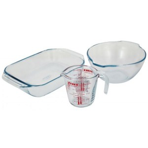 Pyrex Classic 3 Piece Set Glass Rectangular Roaster with Mixing Bowl And Measuring Jug Set, Clear
