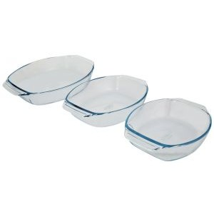 Pyrex Classic 3 Piece Glass Oval Roasters/ Clear
