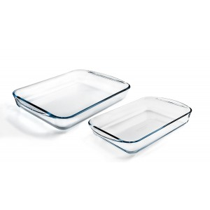 Pyrex Classic 2 Piece Rectangular Glass Baking Roasting Bake Roaster Dish Set