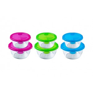 Pyrex Cook & Go Set of 2 round roasters, Neon