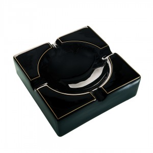 Cigar Ashtray Ceramic Black and Gold