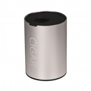 Cigar Ashtray aluminium silver for tin holder in car Height 9.7cm, cigar holder inside, turn up lid