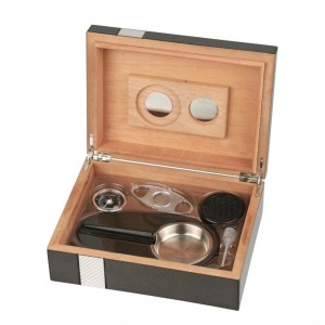 Cigar Box Humidor set 2-tone laser finish ca.25cig +hygrometer+humidifier+cutter+ashtray H 8 x W 24 x D 18cm