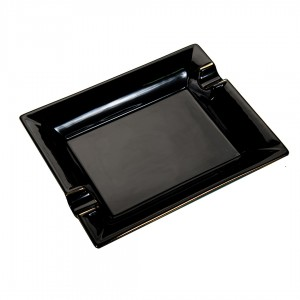 Cigar Ashtray Ceramic Square Black Trim 2 Cigars Rest