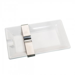Cigar Ashtray with Movable Rest White