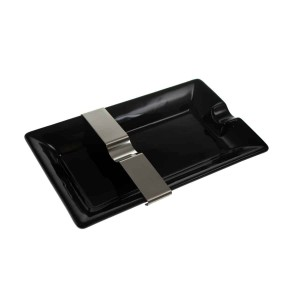 Cigar Ashtray with Movable Rest Black