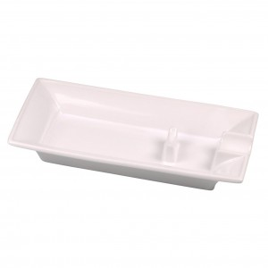 Cigar ashtray ceramic with 1 rest with additional ceramic support H3.5xB9.2xT18.3cm white