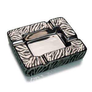 Cigar Ashtray Ceramic Black Silver