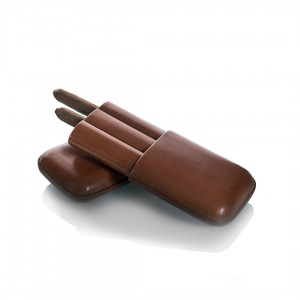 Cigar Case Leather Brown - 3 Finger