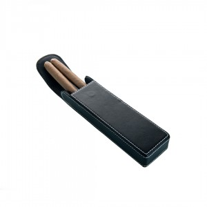 Cigar Case Leather Black - 2 Finger