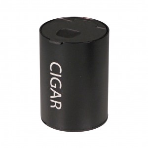 Cigar Ashtray aluminium black for tin holder in car Height 9.7cm, cigar holder inside, turn up lid