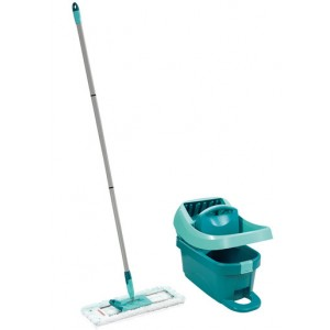A Leifheit wiper press Profi XL Set , for wiping without stooping,mop and bucket set, Turquoise