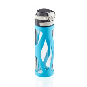 Leifheit Flip Drinking Bottle Glass 600 ml Light Blue