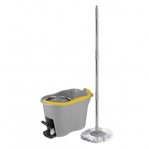 a Apex A Floor Cleaning System with Bucket, Stainless Steel Centrifugal Wringer, Microfiber Handle and Mop - Espresso Plus
