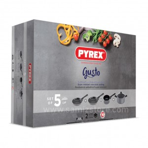 a Pyrex a Gusto Super resistant Non-Stick Aluminum 5 Piece Cooking Set