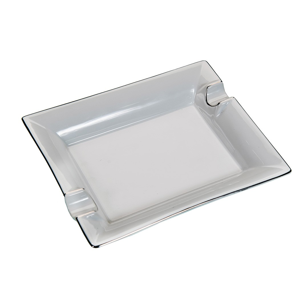 Cigar Ashtray Ceramic Square White With Silver Trim 2 Cigars Rest Cigars All Products
