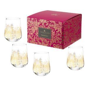 Sara Miller London Portmeirion Chelsea Gold Leaf Stemless Wine Glass Set of 4