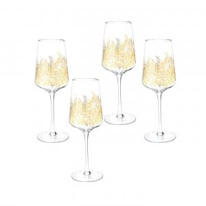 Sara Miller London Portmeirion Chelsea Gold Leaf Wine Glass Set of 4