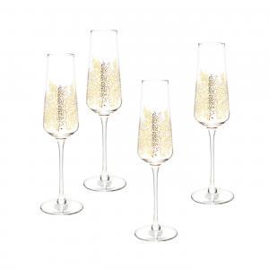 Sara Miller London Portmeirion Chelsea Gold Leaf Champagne Flute Set of 4