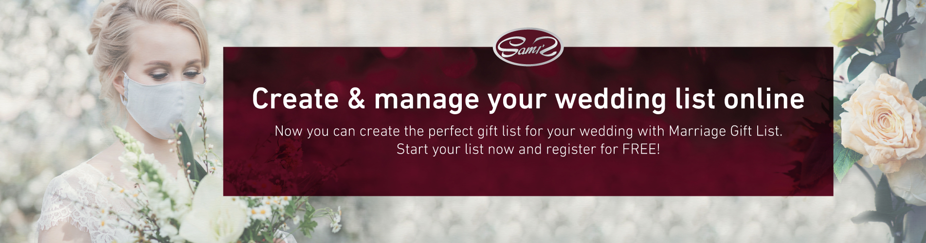 Gift registry for wedding gifts.